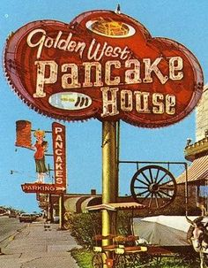 Flapjacks in the old west! Old Neon Signs, Vintage Neon Signs, Old Signs, Advertising Signs, Vintage Advertisements, Vintage Ads, Roadside Signs, Retro Signage, Cyberpunk