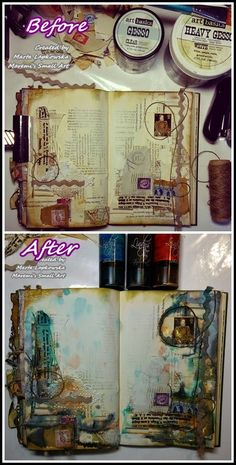 Marta Lapkowska: Mixed media journal pages by night + VIDEO tutorials