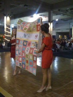 An Alpha Phi Quilt Auctioned off at Gama Phi's Red Dress Gala