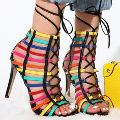 Multiple Tone Front Lace Up Heels
