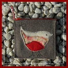 porte-monnaie oiseau rouge-gorge en laine taupe, motif en appliqué : Trousses par pic-et-clic-et-collectons