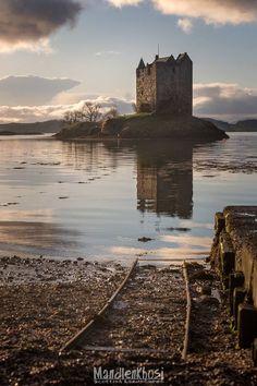 Tracks to Castle Stalker in Argyll, Scotland