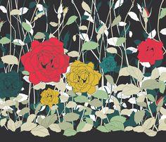Dark Flowers fabric by candyjoyce on Spoonflower - custom fabric