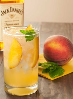 Honey-Peach Fizz: Muddled peaches and mint blended with Jack Daniel's Tennessee Honey and topped with lemon-lime soda.