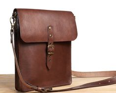Small leather crossbody bag. Brown veg-tanned leather bag.  by InnesBags