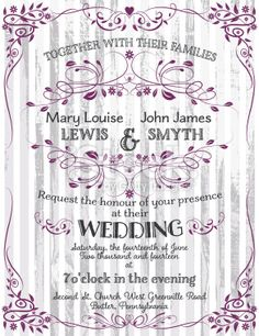 Wedding Invitation Template On Wood Background Royalty Free Stock Vector Art Illustration