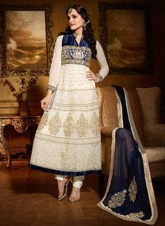 Ethereal Off White Net Anarkali Salwar Kameez