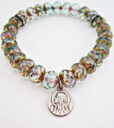 Aqua Blue Czech Glass with Brass Picasso Stretch Bracelet with Antique French Catholic Saint Mary Magdalene Medal, Sparkling Stacking