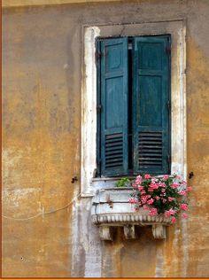 Garbatella ~ Rome. #Teal shutters.