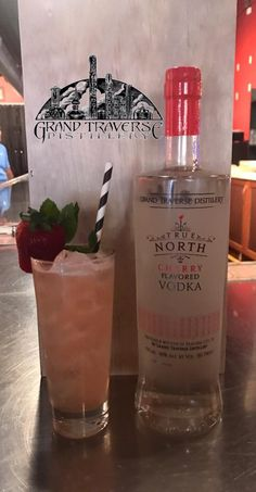 Bring in the weekend at our Front Street tasting room with this delicious cocktail! Get into a 'Cherry State of Mind' with our weekend cocktail special. Cherry Vodka, True North, Tasting Room, Simple Syrup, Distillery, Vodka Bottle, Strawberry, Cocktails, Alcohol