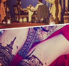 Incorporate your proposal into your Mehendi: How amazing is this mehendi design? The artist Saras Henna (based in Dubai) recreated a scene in Paris where the groom went down on one knee. Top (actual photo), Bottom (recreation)