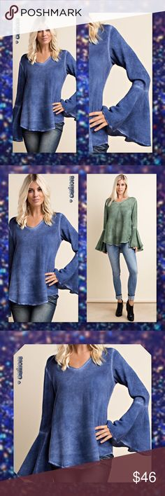 ALMOST GONENavy Blue Mineral Wash V-Neck Bell New Navy Blue Oil Wash Tye Dye V-Neck Bell Sleeve Tunic Top Color: Navy (This listing is for Navy Blue only) Material: 100% Rayon Made in USA V-neck Fabric Style: Mineral or Oil Wash Look Size: Small, Medium, Large Fits loose and true to size Lightweight material; Not heavy at all!  PRICE IS FIRM UNLESS BUNDLED LOWBALL AND TRADE OFFERS WILL HAVE TO BE IGNORED ON THIS ITEM SO PLEASE JUST DO NOT BOTHER BECAUSE I HATE TO IGNORE QUESTIONS Glam Squad…