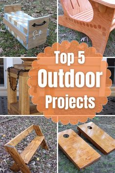 Check out my top 5 outdoor projects. I'll show you how to make a Mason Jar Lantern, a Giant Jenga Yard Game, a Leopold Bench, an Adirondack Chair and Cornhole Boards. These projects will make your home look great or enhance your back yard. Enjoy and please pass the pin. Diy Furniture Projects, Diy Home Decor Projects, Outdoor Projects, Garden Projects, Rustic Wood Decor, Jar Lanterns, Cool Diy, Woodworking Crafts, Diy Tutorial