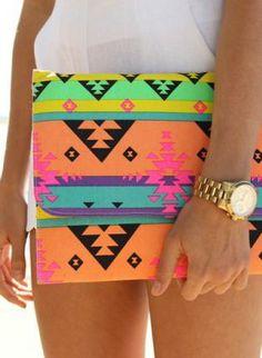 Multi Clutch - Multi Color Bright Aztec Print http://www.ustrendy.com/store/product/90461/multi-color-bright-aztec-print-envelope-clutch-with-chain-st