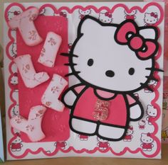 Hello Kitty style card  Die cut on Silhouette Cameo - also name and mats cut on the Cameo.   DP with 'hello kitty' on, made using the image on Serif Craft Artist 2 Made by my sister for our niece (2012)