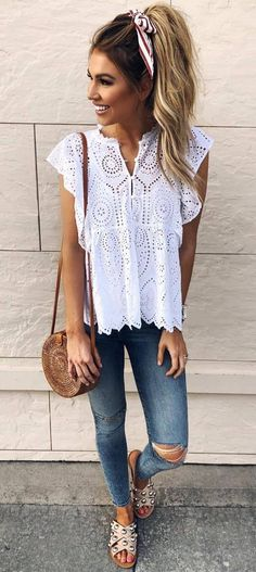 trendy summer outfit / white top + bag + ripped jeans + slides