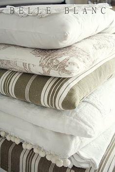 White linen, stripes, toile.