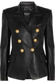 BalmainDouble-breasted leather blazer