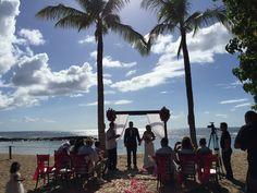 Our couple's beautiful ceremony at Paradise Cove. Contact Hawaii Weddings by Tori Rogers www.hawaiianweddings.net