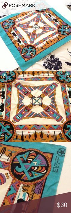 🆕 Vintage Navajo USA MADE Bandana, Scarf In excellent vintage condition. 50/50 Poly/Cotton. Beautiful!! Vintage Accessories Scarves & Wraps