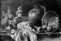 Still Life With Bread by Mikhail Savchenko Be Still, Still Life, Eye Tutorial, He Day, Drawing Techniques, Pencil Drawings, Anime Girls, Manga, Wall Art