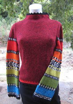 Pull jacquard femme inspiration gypsy boho hippie en laine mélangée chinée bodure en coton au crochet multicolore