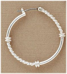 Simply Whispers hypoallergenic and nickel free Jewelry Pierced earrings silver smooth and twist joint and catch hoop