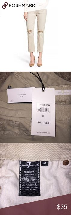 7 For All Mankind Ankle Straight Tan Jeans Trendy Distressed Tan Jeans. New With Tags, Sz 31 7 For All Mankind Jeans