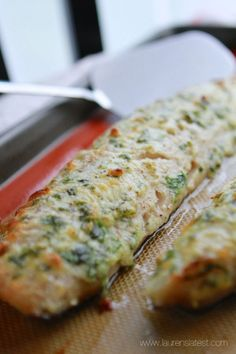 Cod 1/3 cup mayo  1/3 cup parmesan  2 tbsp each parsley & basil 1 med garlic clove grated Salt & pep   Mix all ingredients and spread over cod Cook at 450 till done then broil to crisp edges
