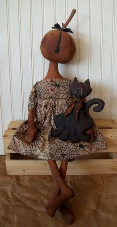 Primitive Grungy Halloween Pumpkin Girl Doll & Her Black Kitty Cat #NaivePrimitive