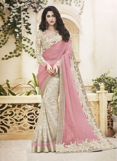 Faux Chiffon Pink and Off White Colored Designer Reception wear Saree