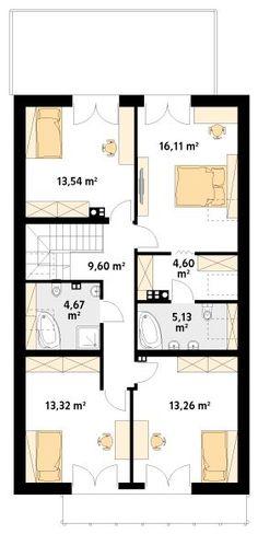 Projekt domu MT Amarylis 4 paliwo stałe CE - DOM - gotowy koszt budowy Rustic House Plans, Modern Bungalow House, Home Fashion, House Floor Plans, Future House, Planer, Kitchen Design, Sweet Home, House Design