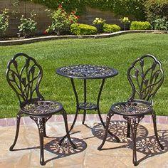 Amazon.com : Best Choice Products Outdoor Patio Furniture Tulip Design Cast Aluminum Bistro Set in Antique Copper : Patio, Lawn & Garden
