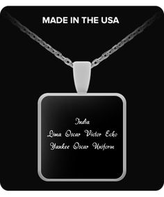 I Love You - Square Pendant Necklace (Black) spn-ily3