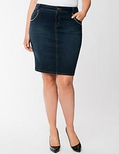 A flattering pencil skirt flaunts curves in all the right places with a tailored fit made just for you! Our exclusive Genius Fit denim is the key to this curve-loving silhouette, featuring the power of LYCRA® dualFX denim that stretches to fit, but never stretches out. Dark wash denim gives it a versatile look for work or weekend, with heavy stitch detailing, five pockets and a vented hem. Button and zip fly closure and belt loops.  LYCRA® dualFX denim is a Lane Bryant exclusive!