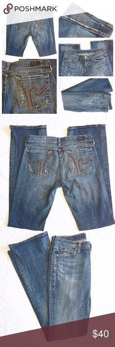 Citizens of Humanity Ric Rac #108 Jeans sz 27 Citizens of Humanity Ric Rac #108 low waist boot cut jeans. Size 27. Slight distressing at bottoms from wear. Overall great condition. 98% cotton 2% polyurethane cut# 3639 style# 108-001. Dark blue, light blue, orange design on back pockets. Inseam is 34 inches Citizens of Humanity Jeans Boot Cut