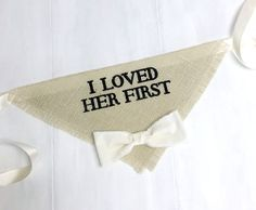 I Loved Her First -  Ivory Wedding Dog Bandana with Bowtie