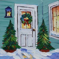 Oil Painting Contemporary Art on Panel Christmas by rbealart