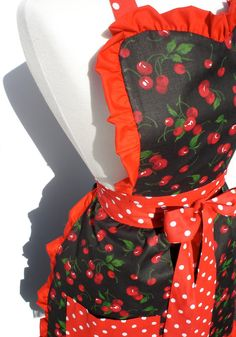 Pin up cherries apron for a vintage kitchen