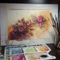 #watercolour #roses