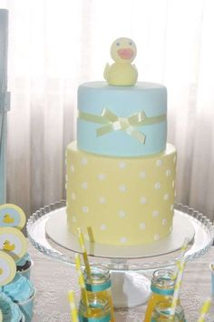 Rubber duck baby shower party cake! See more party planning ideas at CatchMyParty.com!