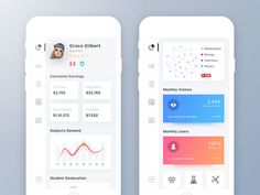 teacher-dashboard-large Mobile Dashboard Design: Android and iOS UI Examples Student Dashboard, Dashboard Design, App Ui Design, Mobile App Design, Interface Design, Web Design, Graphic Design, Flat Design, Dashboard Mobile