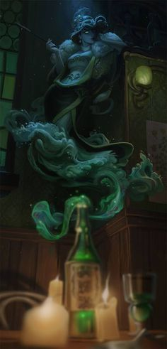 Ghost. Giest. Potion absinthe. Bottle. Quest giver