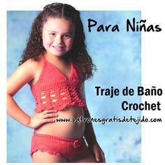 Crochet y Dos agujas: Traje de baño para niñas al crochet / moldes, patr...