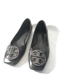 c3b75e21570a TORY BURCH BALLET FLATS METALLIC SILVER SQUARE TOE SIZE 10  fashion   clothing  shoes