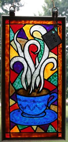 Coffee cup stained glass