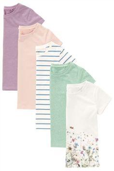 Пастельный Набор из пяти футболок с коротким рукавом (3-16 лет)