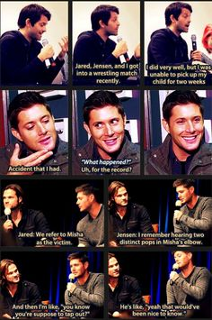 Misha, Jensen, and Jared talk about the wrestling match at a convention and Jensen interview