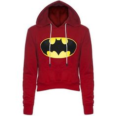 Stylish Hooded Long Sleeve Color Block Women's Batman Fleece Cropped... ($18) ❤ liked on Polyvore featuring tops, hoodies, shirts, sweatshirt hoodies, color-block hoodie, cropped hooded sweatshirt, fleece hoodies and color block hoodie