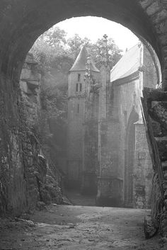 Chapel of St. Barbara (Le Faouët, Brittany)  I don't know if it's abandoned, but it's old and beautiful.
